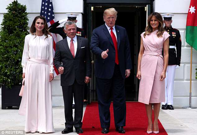 President Donald Trump and first lady Melania Trump welcome Jordan's King Abdullah and Queen Rania at the White House
