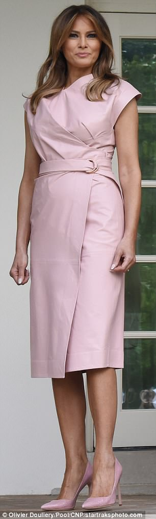 Think pink: Both women wore blush tones; however Rania wore a floor-length outfit, while Melania (pictured) opted for a Proenza Schouler dress cut just below the knee