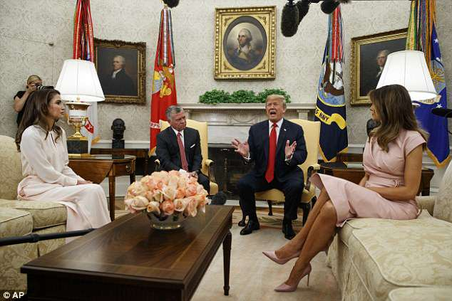 The king and queen of Jordan last visited the White House in April 2017