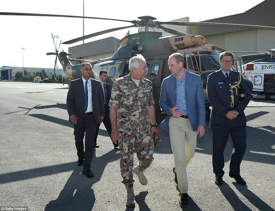 Prince William, Duke of Cambridge inspects an air ambulance at Marka Airport  in Amman, Jordan, hours before he headed to Tel Aviv on Monday