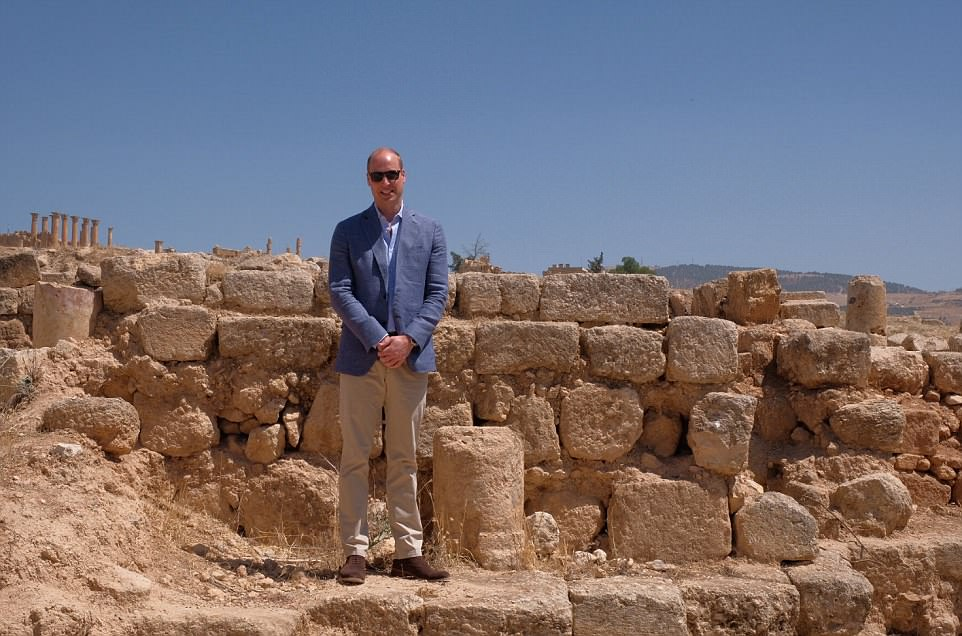 The Duke of Cambridge has followed in the footsteps of his wife by visiting the ruins of a Roman settlement in Jordan as he continues his tour of the Middle East