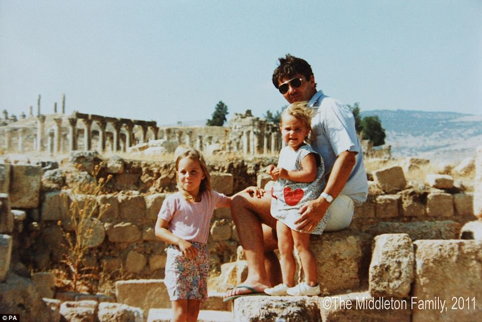 A picture of a young duchess with her father and sister at the famous Roman ruins at the Jordanian city of Jerash was released before her 2011 wedding