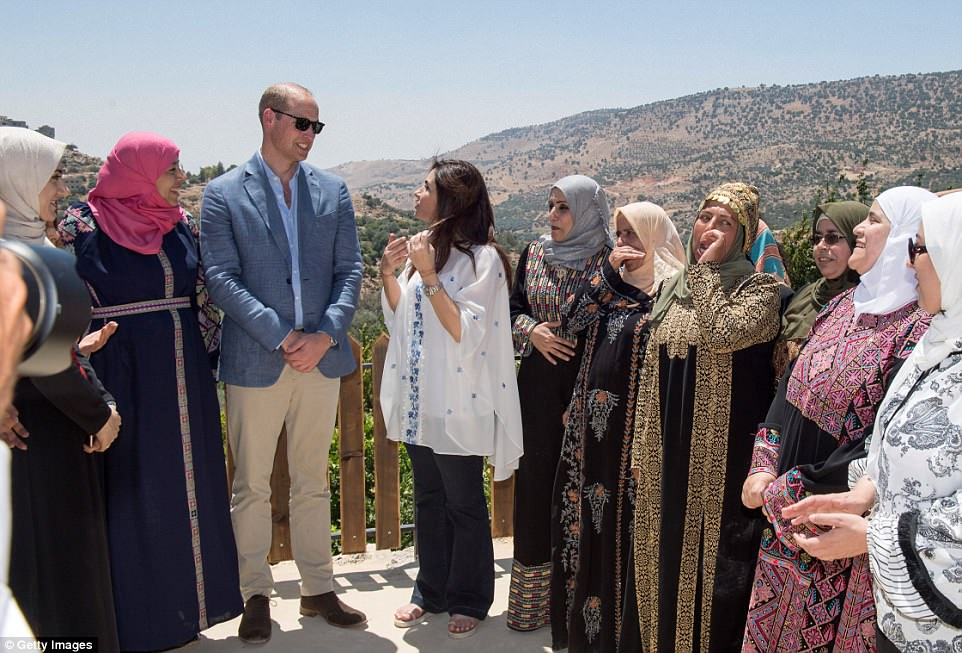 Prince William, Duke of Cambridge visits the Dar Na'mah Centre - a project of the Princess Taghrid Institute (PTI) in Amman, Jordan