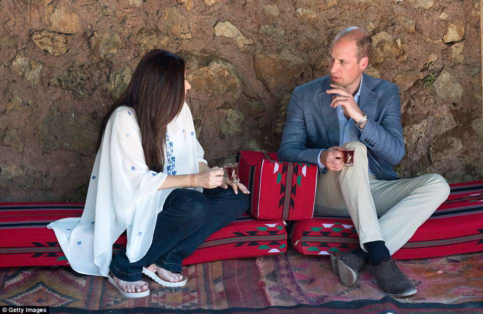 Prince William stopped for a cup of tea and a chat while he visited Amman, Jordan. He met local women helped by a trust set up by the Princess Taghrid Institute (PTI)