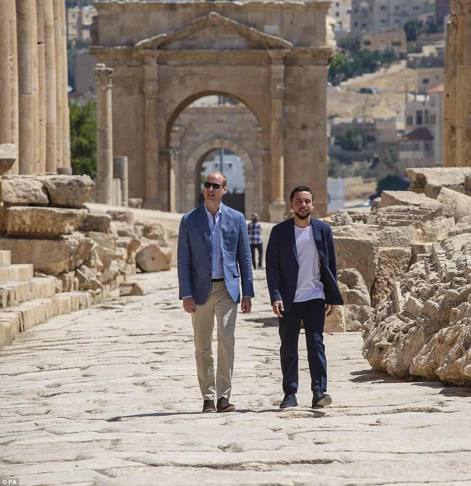The Duke of Cambridge (left) and Crown Prince Hussein of Jordan during a visiti to the Jerash archaeological site in Jordan