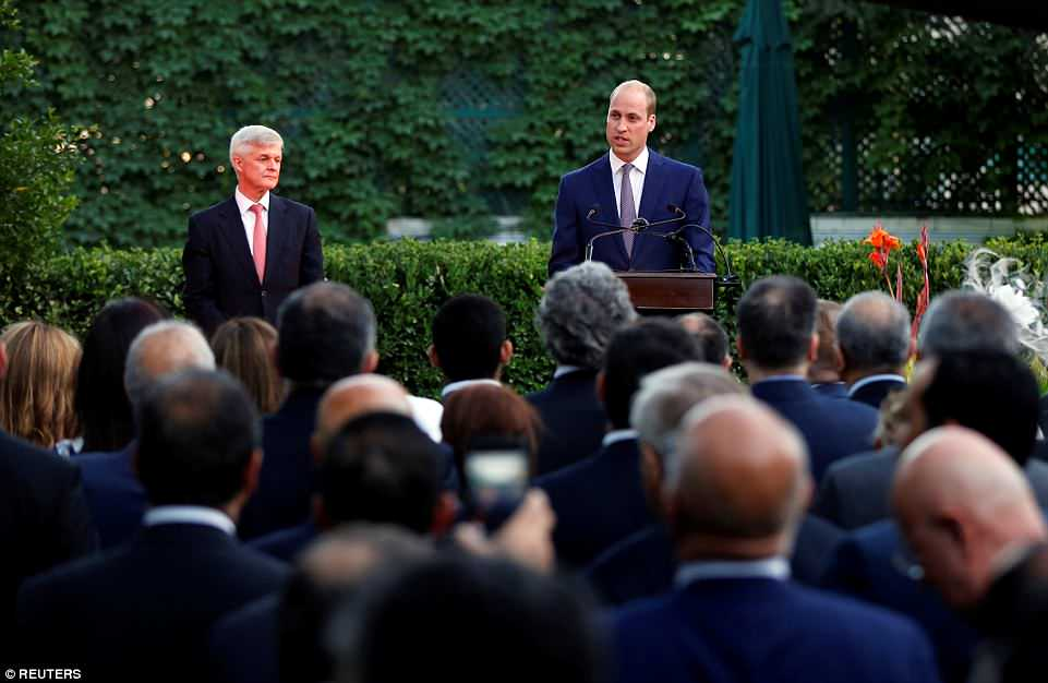 Prince William speaking at the British Embassy in Amman on Sunday. He praised the 'historic ties and friendship' between Britain and Jordan