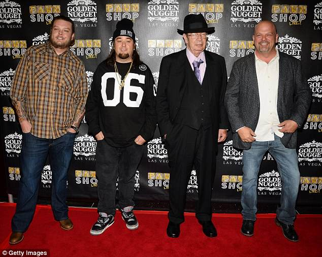 The cast in 2014: Richard, second from right, with Corey 'Big Hoss' Harrison, Austin 'Chumlee' Russell,  and Rick at the opening of Pawn Shop Live!, a parody of  Pawn Stars television series, at the Golden Nugget Hotel & Casino  in Las Vegas