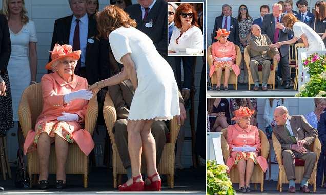 The moment the Queen and Duke of Edinburgh met Hollywood star Susan Sarandon