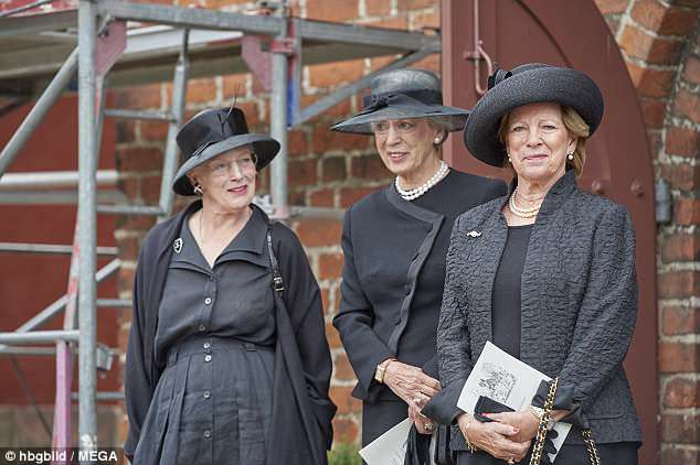 Queen Margarethe of Denmark, 78 (left) attended the funeral of her cousin Princess Elisabeth with sisters Princess Benedikte (centre) and Queen Anne-Marie of Greece (right)