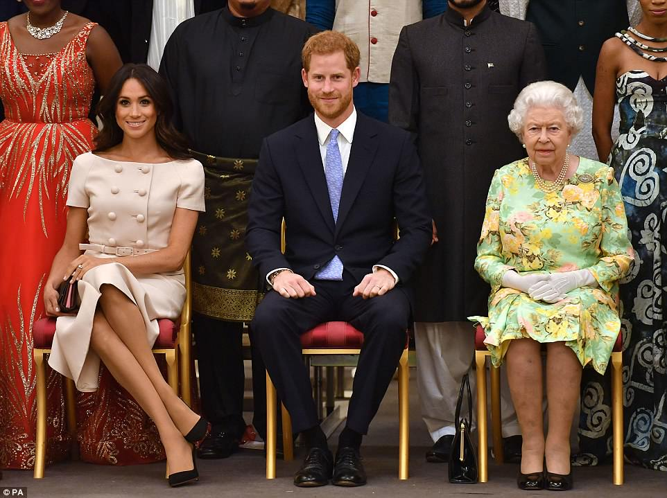 The A-team! Meghan joined the Queen, along with Prince Harry, for the second time in two weeks for tonight's reception. The Commonwealth is a global network of 53 countries and 2.4 billion people, of whom 60 per cent are under 30 years old