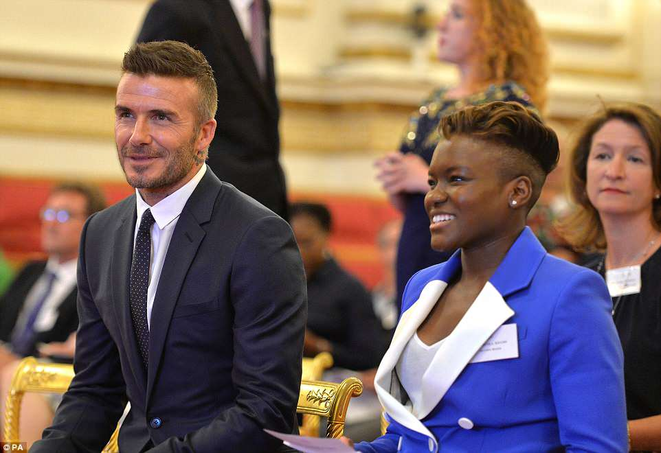 Footballer David Beckham and a smartly-clad Nicola Adams share a joke as they wait for Prince Harry to give a speech.The Queen's Young Leaders programme was launched in 2014 in honour of the monarch's service to the Commonwealth