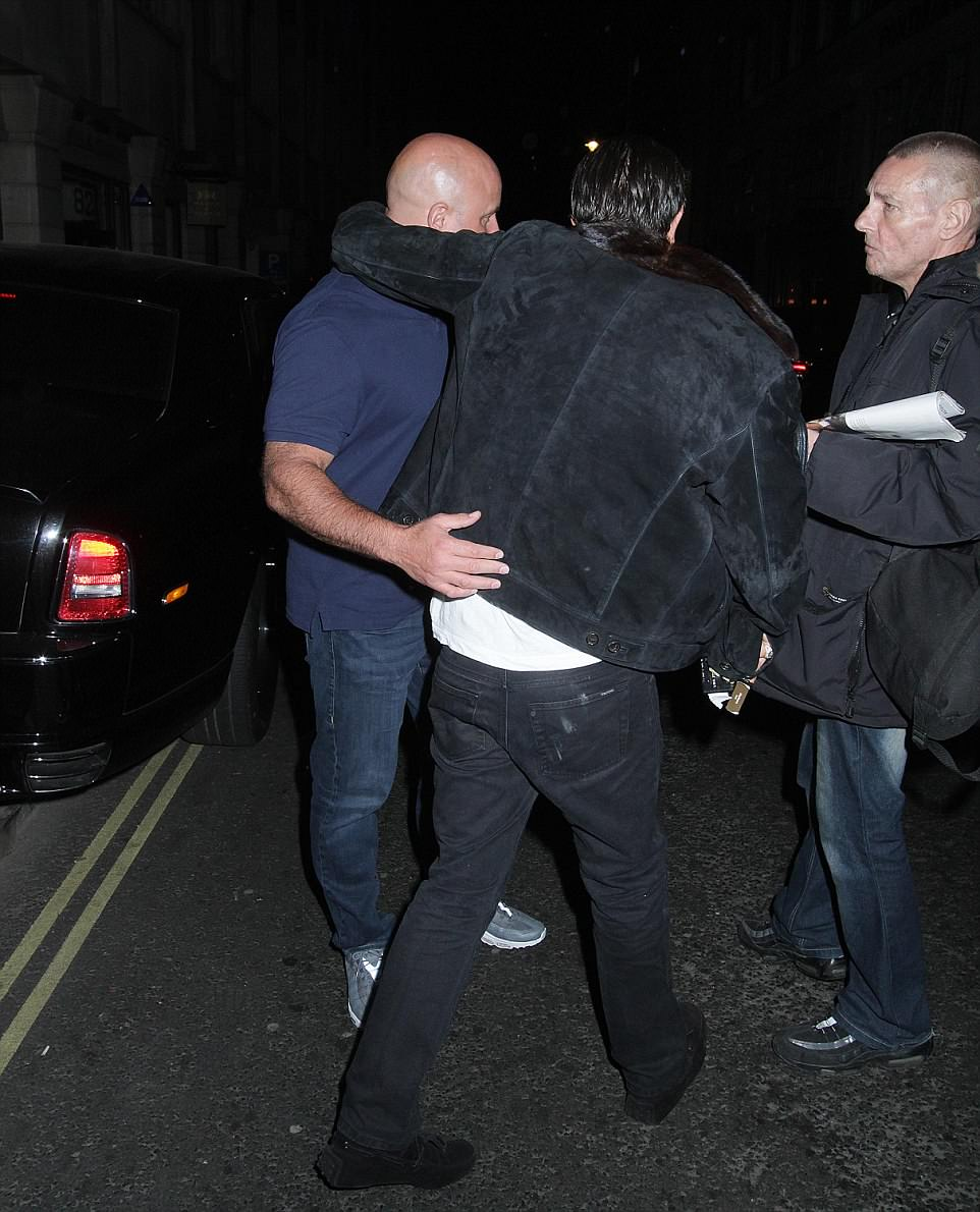 Mr Stunt was aided by a friend as he left the club in London's Jermyn Street and walked towards a waiting car