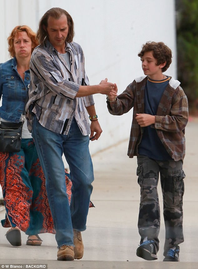 Reliving the past: Shia LaBeouf got into character as his dad Jeffery while Noah Jupe played the young Shia as they filmed biopic Honey Boy on the streets of Los Angeles on Sunday