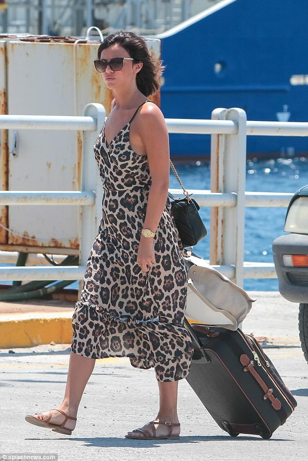 Wild thing: Lucy Mecklenburgh, 26, looked loved up as she and Ryan Thomas, 34, left their romantic getaway in Mykonos on Saturday to head to Crete
