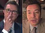 Late night hosts Stephen Colbert and Jimmy Fallon teamed up for a video call skit on Tuesday after President Trump slammed them for having 'no talent' during his South Carolina rally