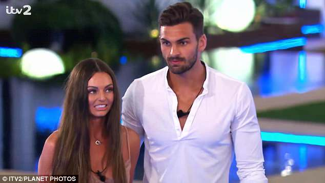 Causing a stir: Rosie made a later arrival into the Love Island villa, and immediately set her sights on Adam (R) - who swiftly ditched his partner Kendall Rae-Knight (L) to woo her