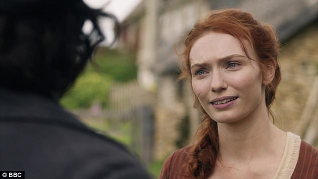 Reunited: Demelza's heart skipped a beat when she spied Ross riding along the cliff-top and up to the house