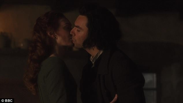 Kiss: Ross returned home to find Demelza folding up the washing after a long day's ploughing
