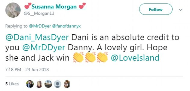 Heartfelt: EastEnders legend Danny took to Twitter to share a sweet tribute to his daughter Dani, which was well received by fans on Sunday night