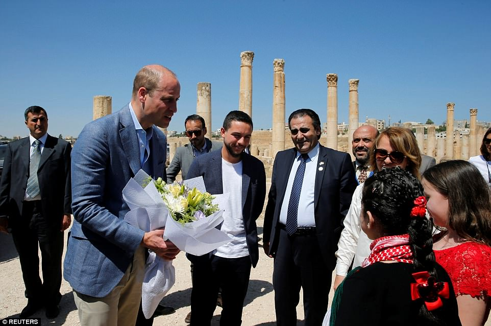 The 36-year-old William is on the second day of a five-day Mideast tour that also takes him to Israel and the Palestinian territories. In Jordan, he is being hosted by Crown Prince Hussein, who is 2