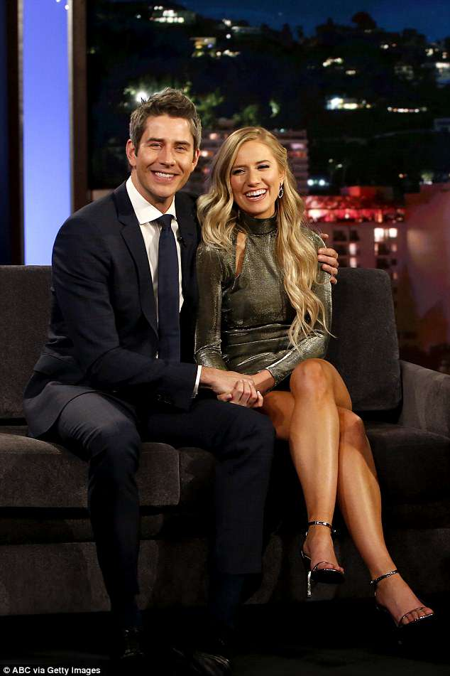 TV fame: Arie and Lauren are pictured on Jimmy Kimmel; they found love on The Bachelor
