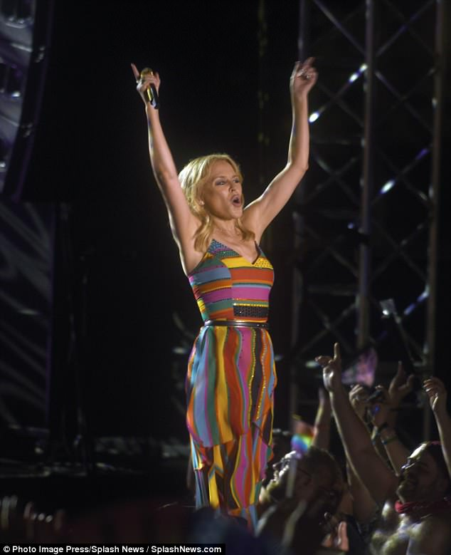 Crowd pleaser: Kylie proved she's still on top form as she had the audience up and out of their seats for the energetic performance