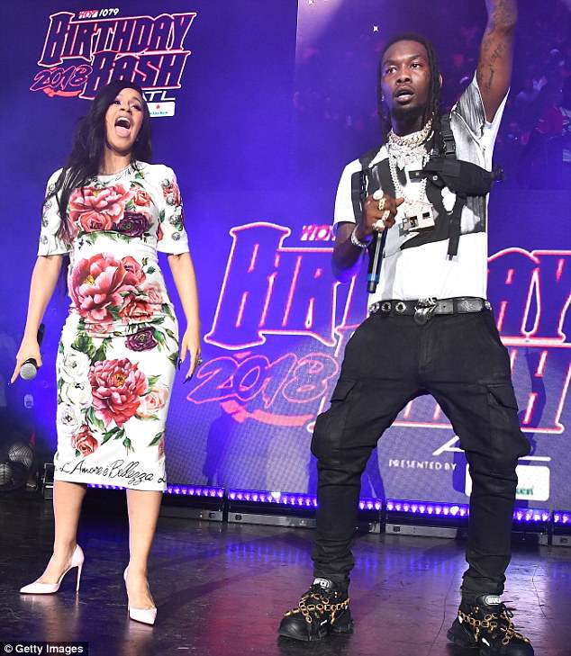 On stage: The couple performed together in Atlanta this month at the hot 107.9 Birthday Bash