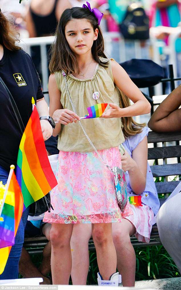 Making her own money! Katie Holmes' daughter Suri Cruise, 12, was seen selling lemonade for $2 a cup at the NYC Gay Pride Parade on Sunday