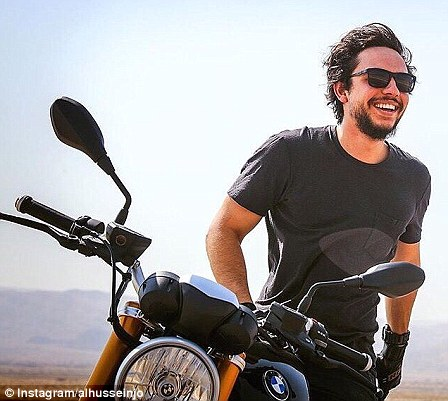 The royal has sent hearts fluttering with Instagram snaps showing him riding his motorbike through the Jordanian desert