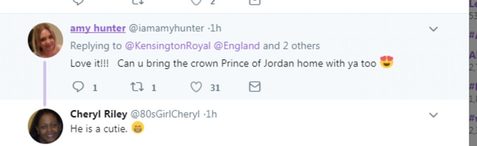 'Love it': Some social media users were enraptured by the Crown Prince of Jordan's good looks