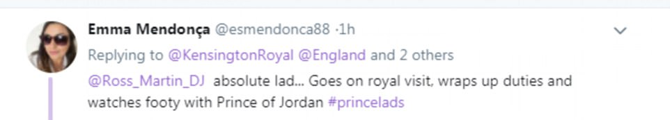 'Absolute lad': Twitter users were impressed by Prince William's relaxed evening with the Crown Prince