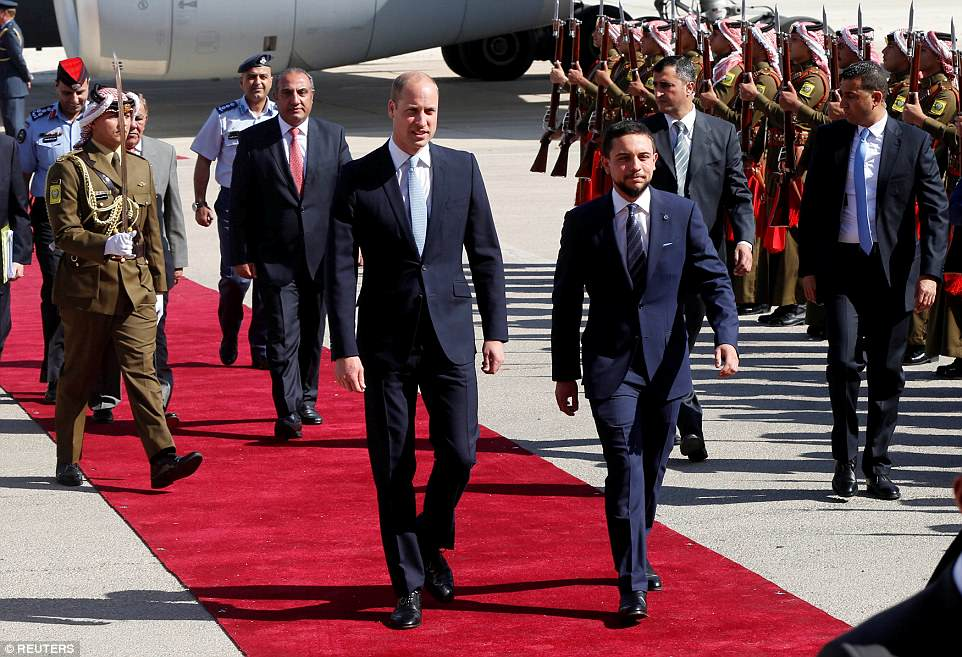 The Duke of Cambridge has been welcomed to Jordan by Crown Prince Hussein, 23, who is standing in for his parents King Abdullah and Queen Rania