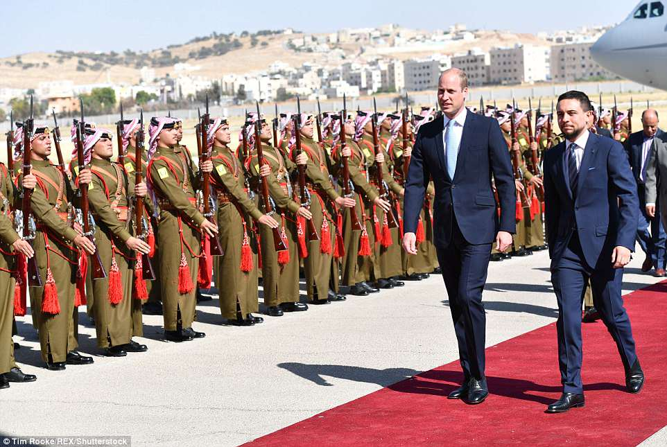 Prince William has arrived in Jordan where he was greeted by Crown Prince Hussein, 23, a fellow graduate of Sandhurst