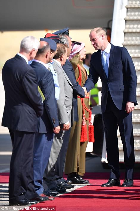 The Duke was greeted by a welcoming committee in Amman after disembarking from his flight
