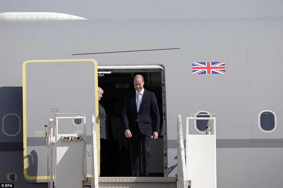The Dukearrived at Marka airport, some 5km north-east of Amman, Jordan on an RAF flight