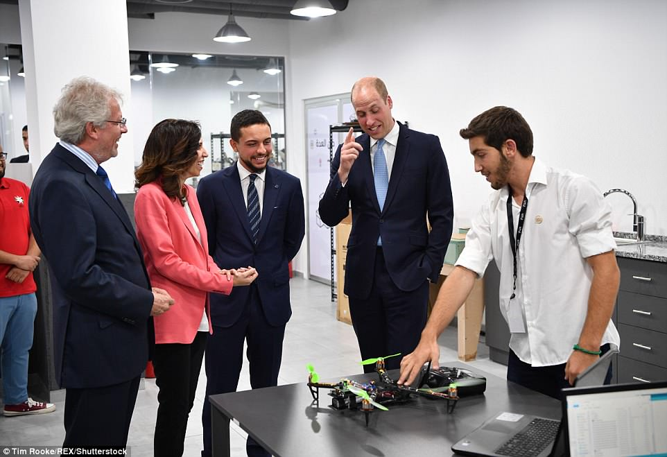 The Duke's first stop of the day was a tour and demonstration of the technology at FabLab, one of the initiatives of The Crown Prince Foundation, designed to enable young people to explore advance technology