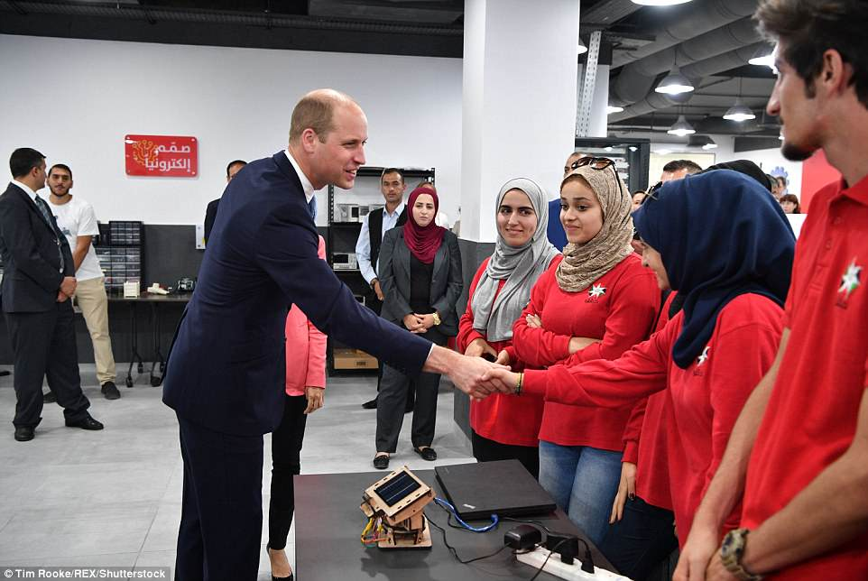 Prince William meets young people involved in various initiatives from The Crown Prince Foundation in Jordan