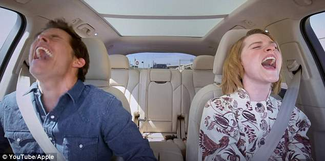 Having a good time:Evan Rachel Wood and James Marsden put on animated displays as they took Apple's Carpool Karaoke to the set of Westworld for the latest episode of the web series