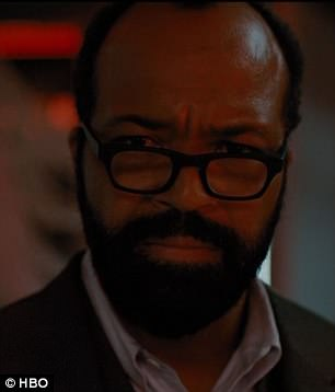 Nail-biting:The hotly-anticipated episode sent viewers wild as Evan's character Dolores Abernathy (left) was shot and killed by Bernard Lowe (Jeffrey Wright, pictured right)