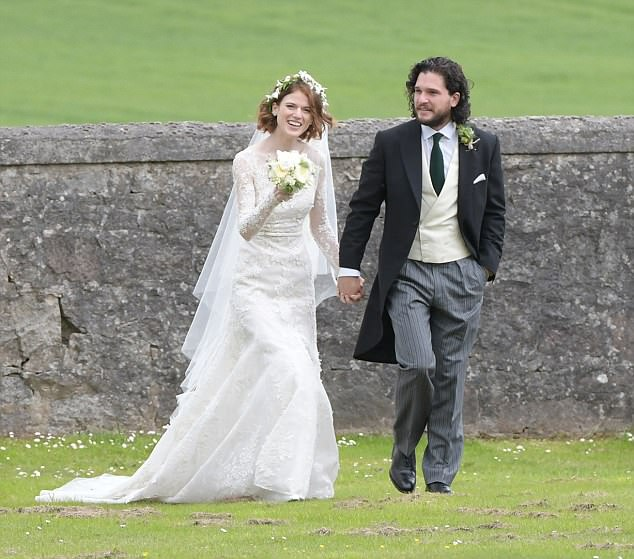I do: Kit and Rose were married at the historic Rayne Church, close to her family's sprawling country estate and castle in Aberdeenshire