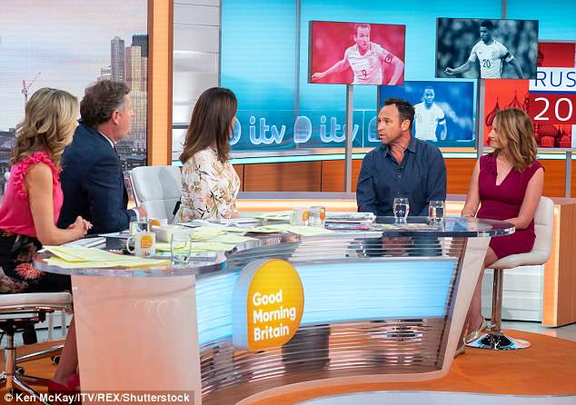 The heated debate began when Jason (second left) said GMB presenters he 'preferred' to listen to a man's voice during the football, calling Sparks too 'high-pitched'