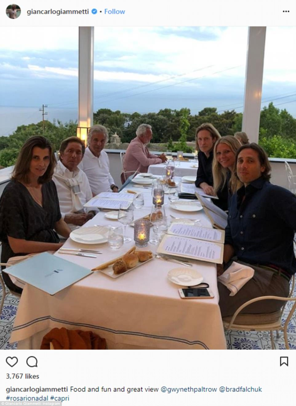 And now time for dinner: Giammetti also shared this photo from Sunday evening where the party was enjoying dinner al fresco with several friends