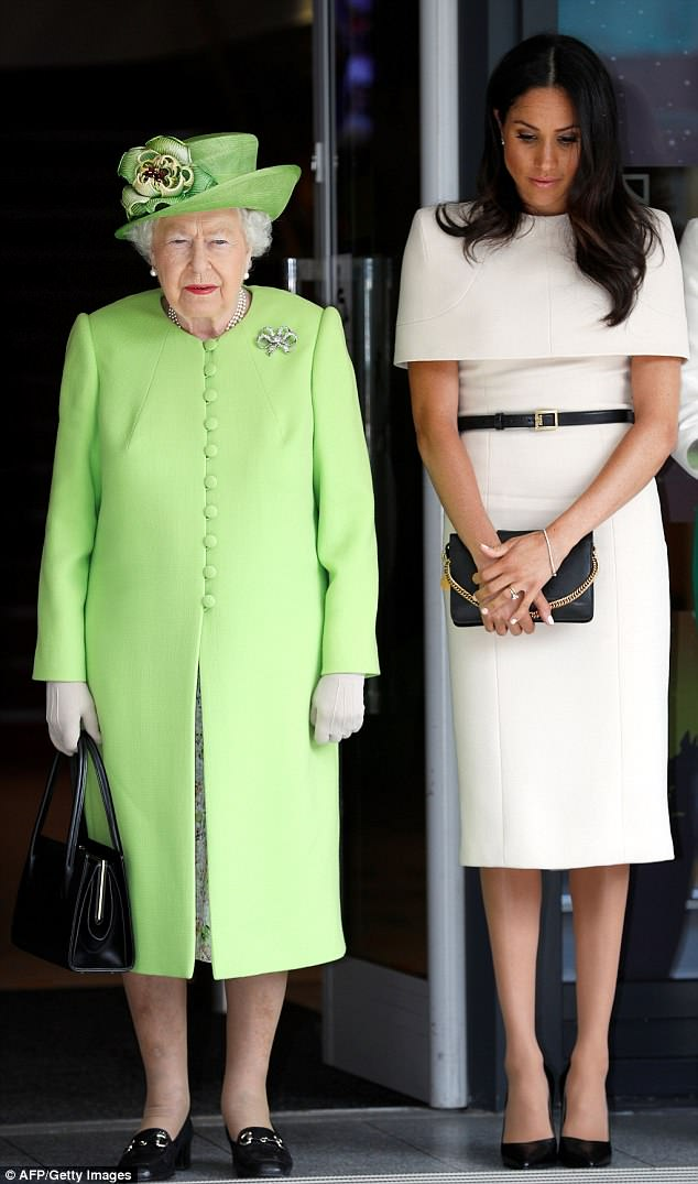 The Duchess of Sussex, 36, also carried a clutch bag by Givenchy during her first joint engagement with the Queen in Cheshire