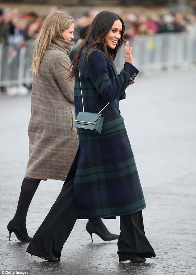 The Duchess had previously favoured cross-body bags, including this one by Scottish brand Strathberry