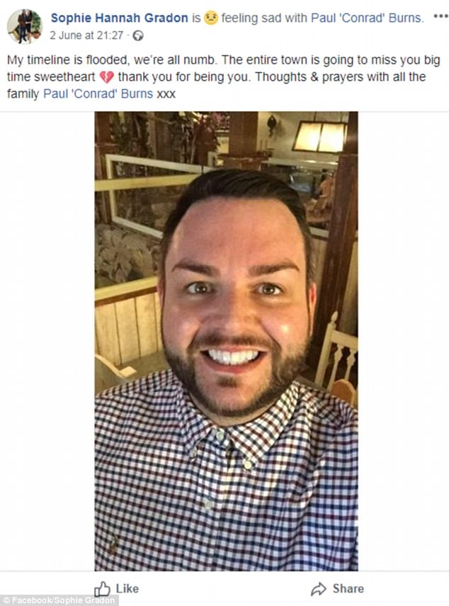 Heartbreak:The death of her close friend Paul Burns in June, a bar owner in Newcastle (above), is also thought to have affected her badly in the weeks leading up to her death