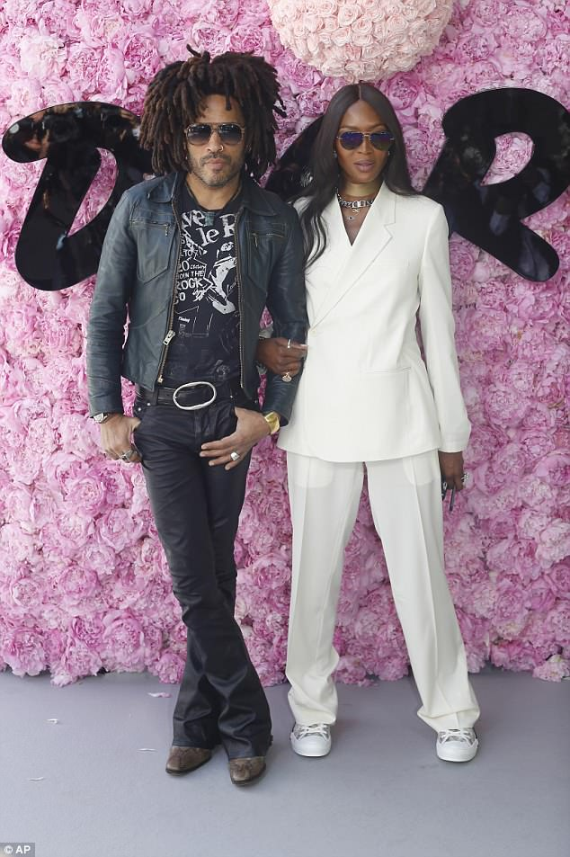 Fashion icon: On Saturday, Naomi had posed for photos with musician Lenny Kravitz as she attended the Dior Men's Spring-Summer 2019 collection in Paris