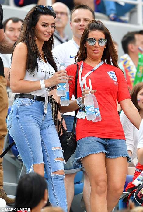 Rebekah Vardy and Annie Kilner (left) led the WAGs as they cheered on England from the stands during the Panama match