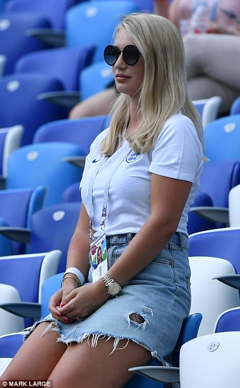 The air hostess looked relaxed ahead of England's second World Cup match today