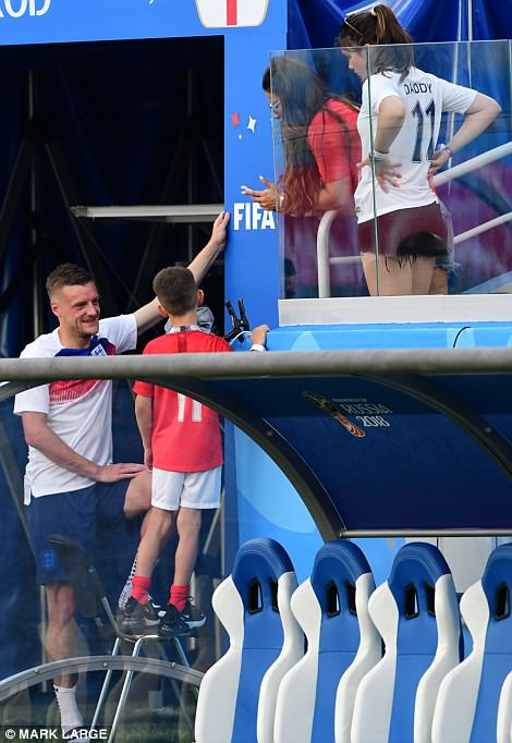 The Vardy family all looked happy and relaxed following England's convincing victory against Panama today