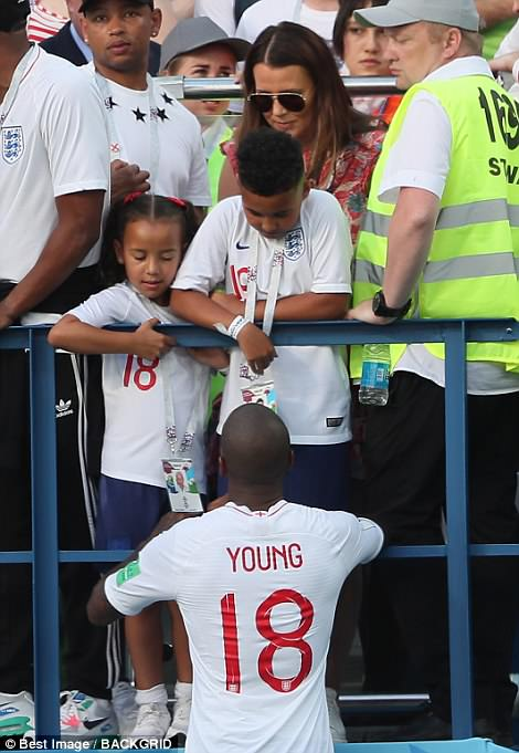 Ashley Young was joined by his wife Nicky and their two children